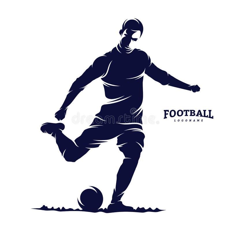 Calcio e VETTORE di LOGO dell'uomo del giocatore di football americano Siluetta illustrazione vettoriale