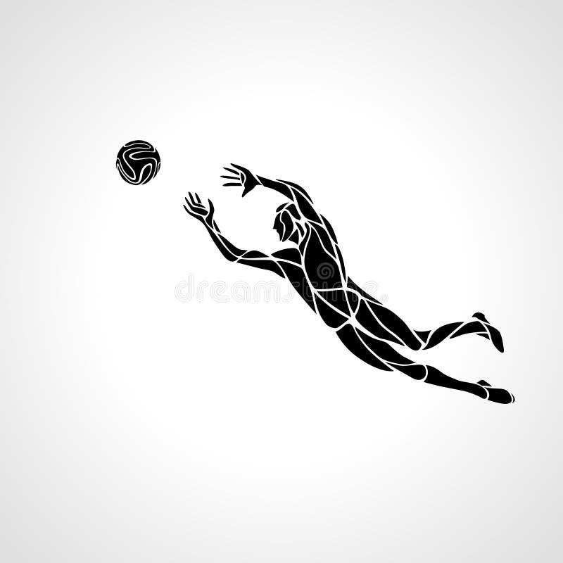 Calcio o giocatore di football americano, portiere, siluetta dello sportivo illustrazione vettoriale