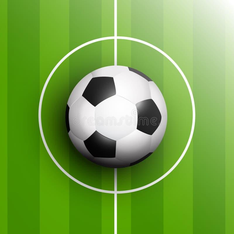 Calcio o pallone da calcio nel punto di centro del passo royalty illustrazione gratis