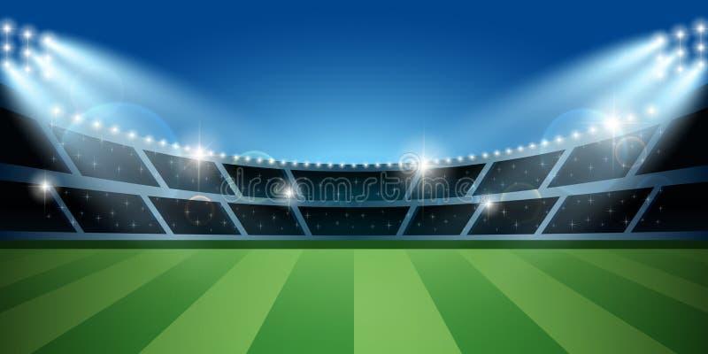 Calcio o stadio di football americano con il riflettore Arena di calcio illustrazione vettoriale