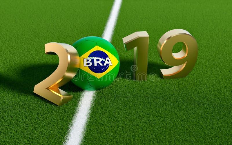 Calcio 2019 - pallone da calcio nella progettazione della bandiera del Brasile su un campo di calcio Pallone da calcio che rappre illustrazione vettoriale