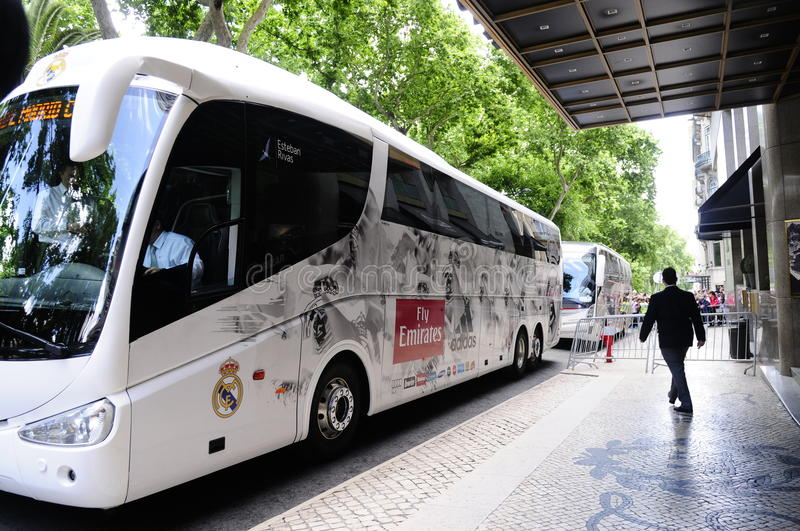 Calcio professionistico Team Bus di Real Madrid immagini stock