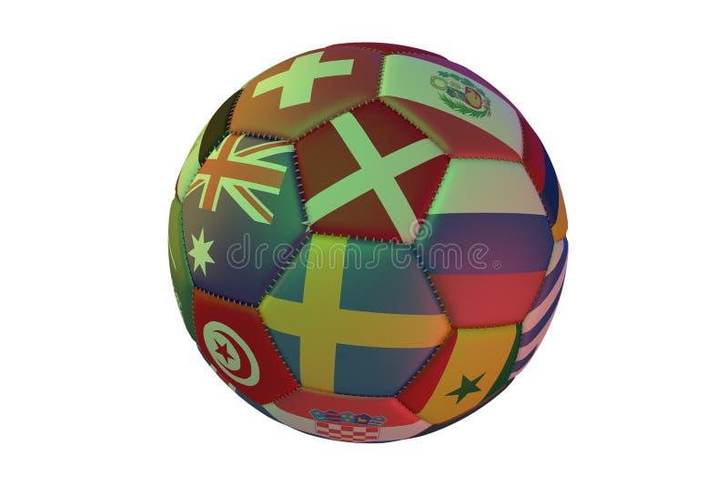 Calcio realistico isolato con le bandiere dei paesi che partecipano alla coppa del Mondo 2018, nel centro della Svezia, la Danima illustrazione vettoriale