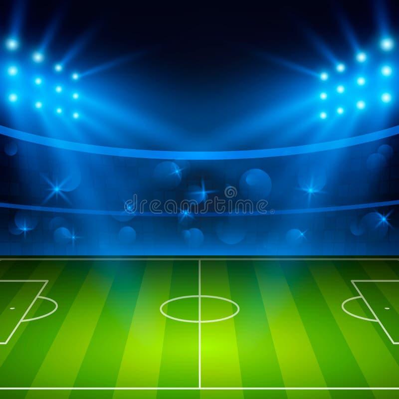 calcio stadium Campo dell'arena di calcio con le luci luminose dello stadio Illustrazione di vettore illustrazione vettoriale
