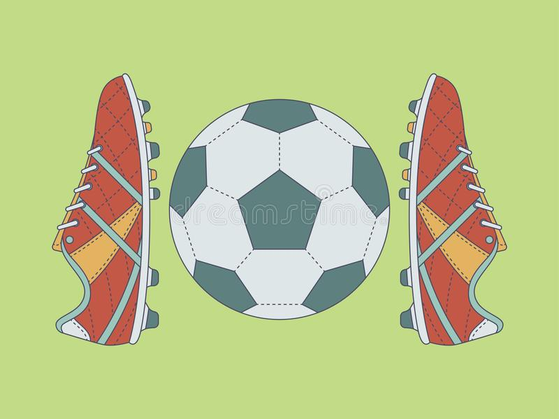 Calcio/stivali e palla di calcio con il contorno su fondo verde illustrazione vettoriale