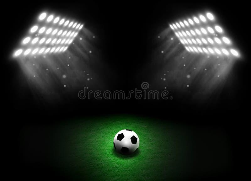 Calcio sul prato inglese dello stadio con luce dei proiettori illustrazione vettoriale
