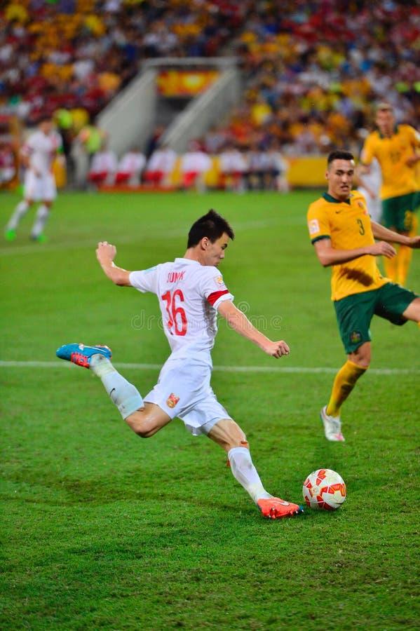 Calcio Team Cross Into The Bax della Cina immagini stock