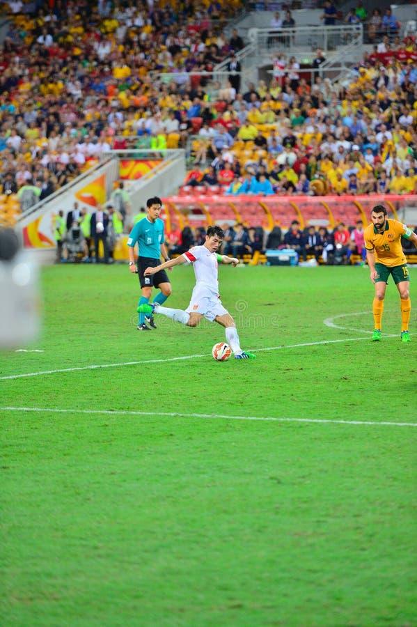 Calcio Team Cross Into The Bax della Cina fotografia stock