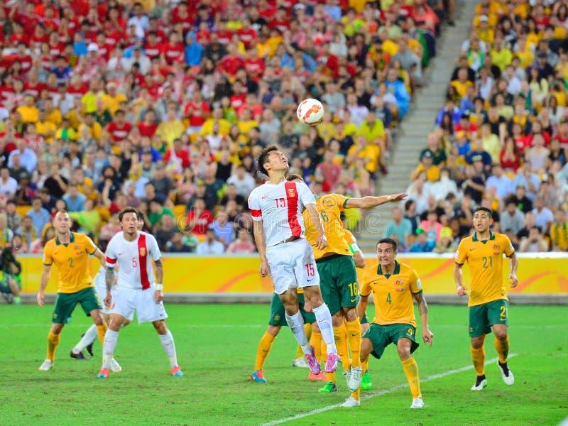 Calcio Team Cross Into The Bax della Cina fotografie stock libere da diritti