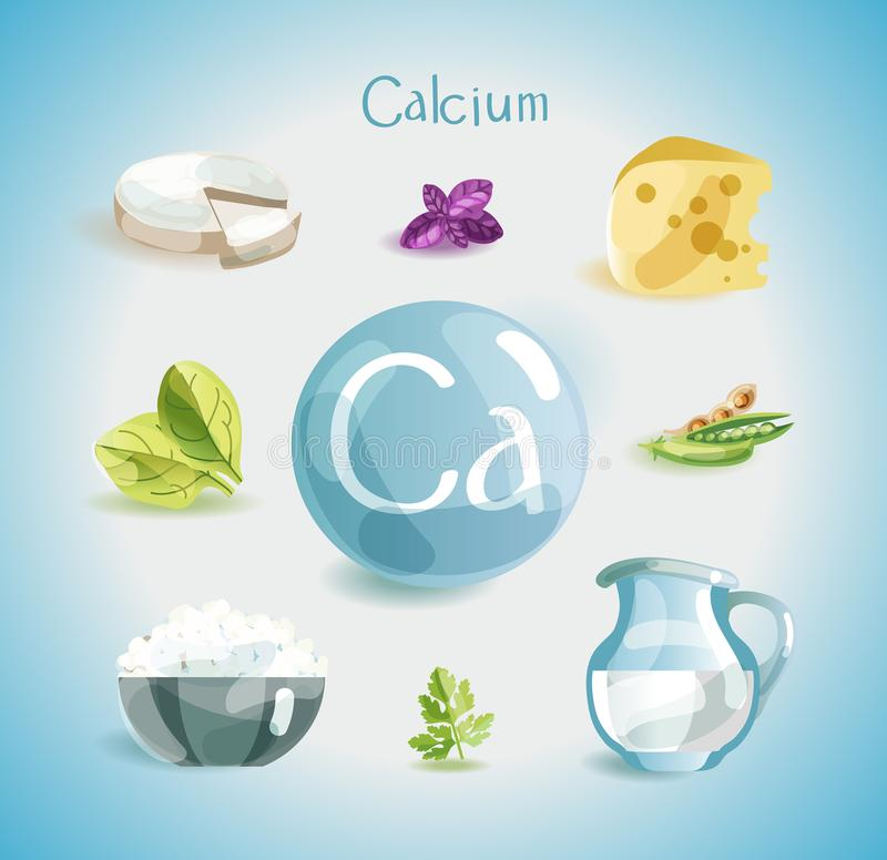 Free Calcium In Food. Natural Organic Foods High In Calcium. Time For Health Royalty Free Stock Images - 138088819