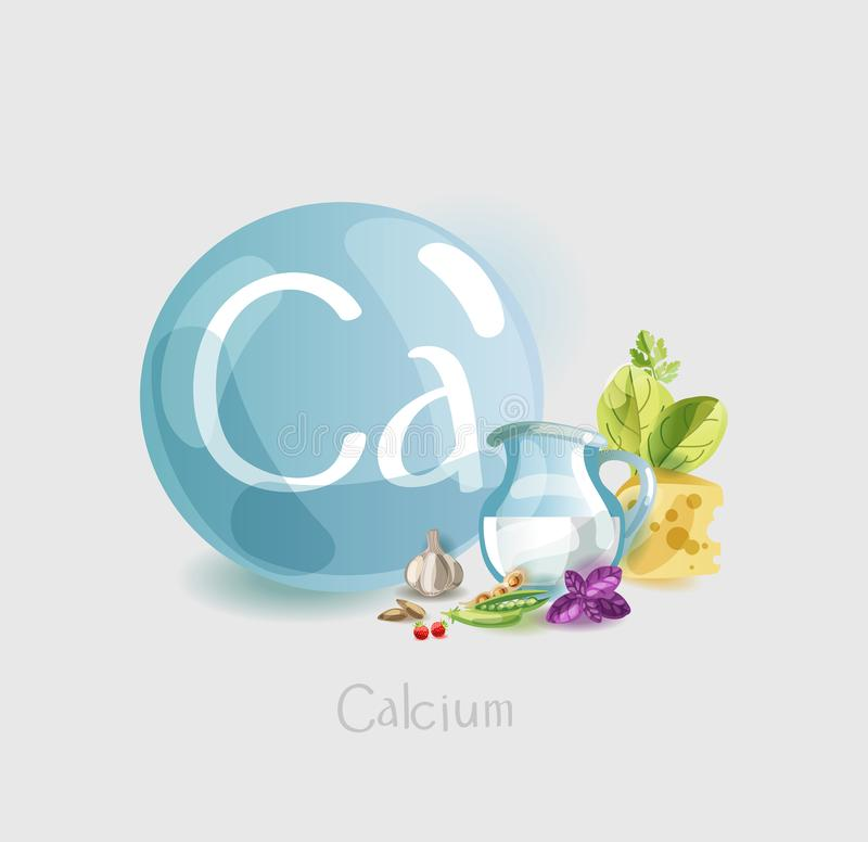 Free Calcium In Food. Natural Organic Foods High In Calcium. Time For Health Royalty Free Stock Photo - 138088825