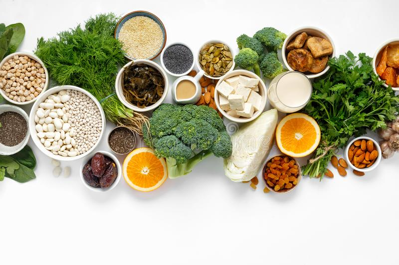 Calcium vegetarians Top view healthy food clean eating royalty free stock photos