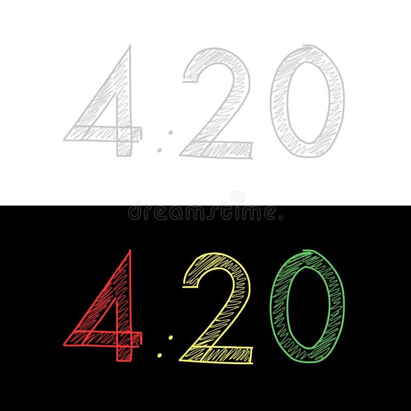 Calcola il testo di 4:20 Illustrazione di vettore Marijuana legalizzata Su gray bianco del fondo fotografia stock