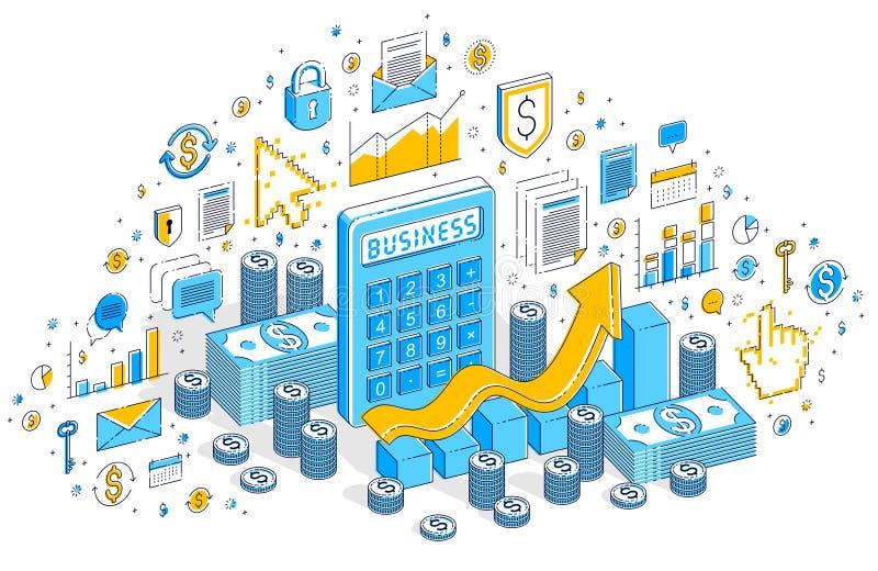 Calcolatore con il grafico di crescita dei guadagni isolato sul backgrou bianco illustrazione di stock
