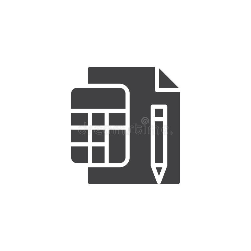 Calcolatore con l'icona di carta di vettore della penna e dello strato illustrazione di stock