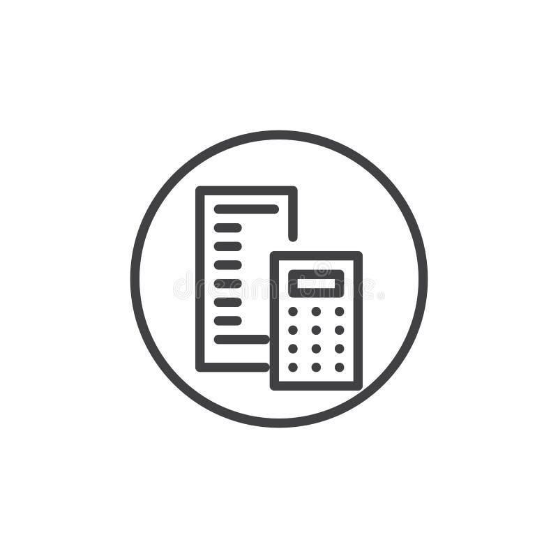 Calcolatore con la linea di carta icona della lista illustrazione di stock