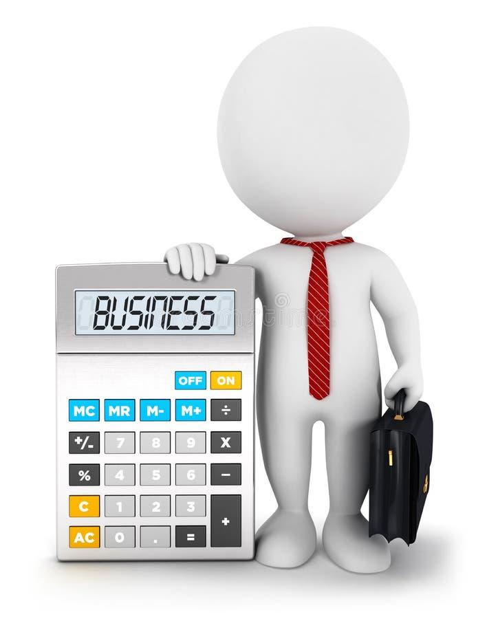 calcolatore di affari della gente bianca 3d royalty illustrazione gratis