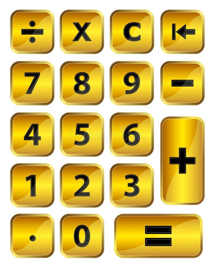 Calcolatore dorato illustrazione vettoriale