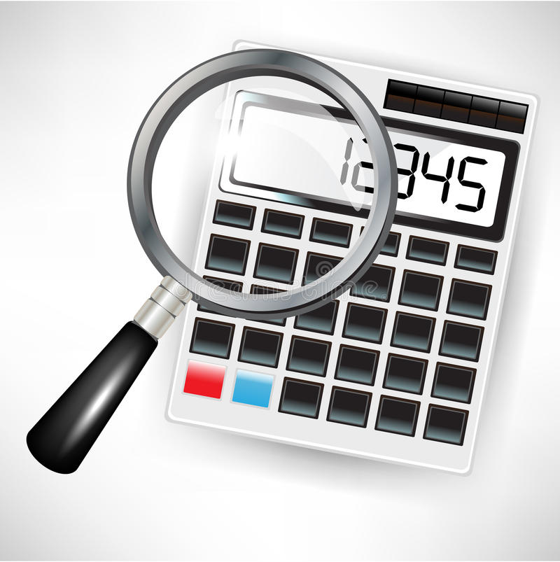 Calcolatore e lente d'ingrandimento illustrazione vettoriale