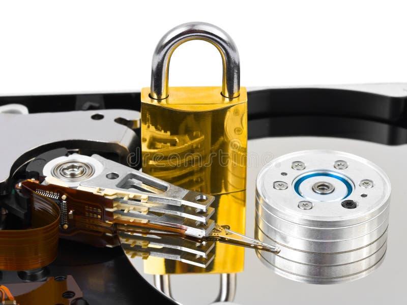 Calcolatore harddrive e serratura fotografia stock