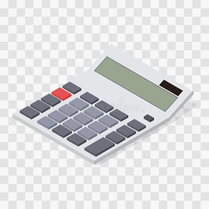 Calcolatore Isometrico piano Bottoni ed esposizione in bianco illustrazione di stock