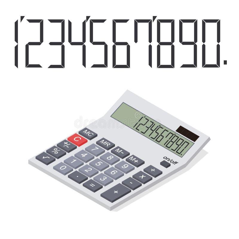 Calcolatore nella prospettiva Isometrico piano illustrazione di stock