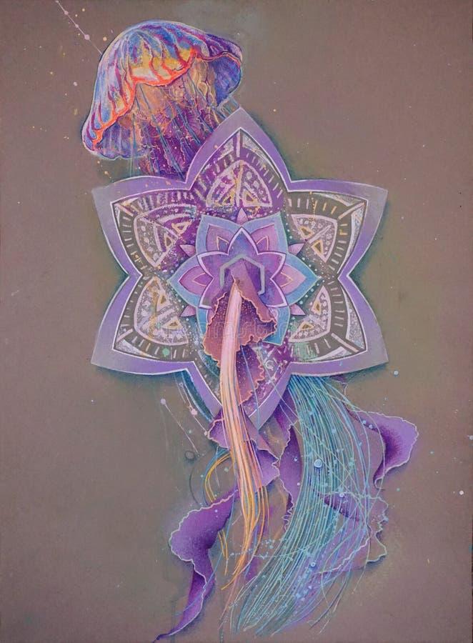 Calcoli le meduse che galleggiano attraverso la mandala, i grafici unici, tatuaggio di schizzo di colore immagine stock