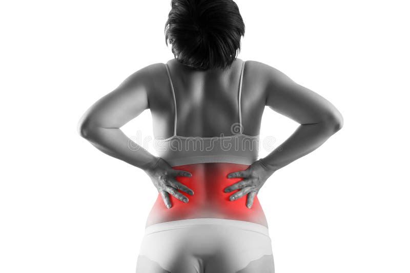 Calcoli renali, dolore nel corpo di una donna isolato su fondo bianco, malattie croniche del concetto di sistema urinario immagine stock