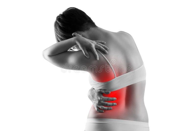 Calcoli renali, dolore nel corpo di una donna isolato su fondo bianco, malattie croniche del concetto di sistema urinario immagini stock