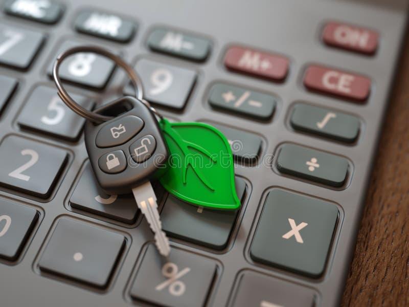 Calcolo di spese dell'automobile ibrida o elettrica immagine stock