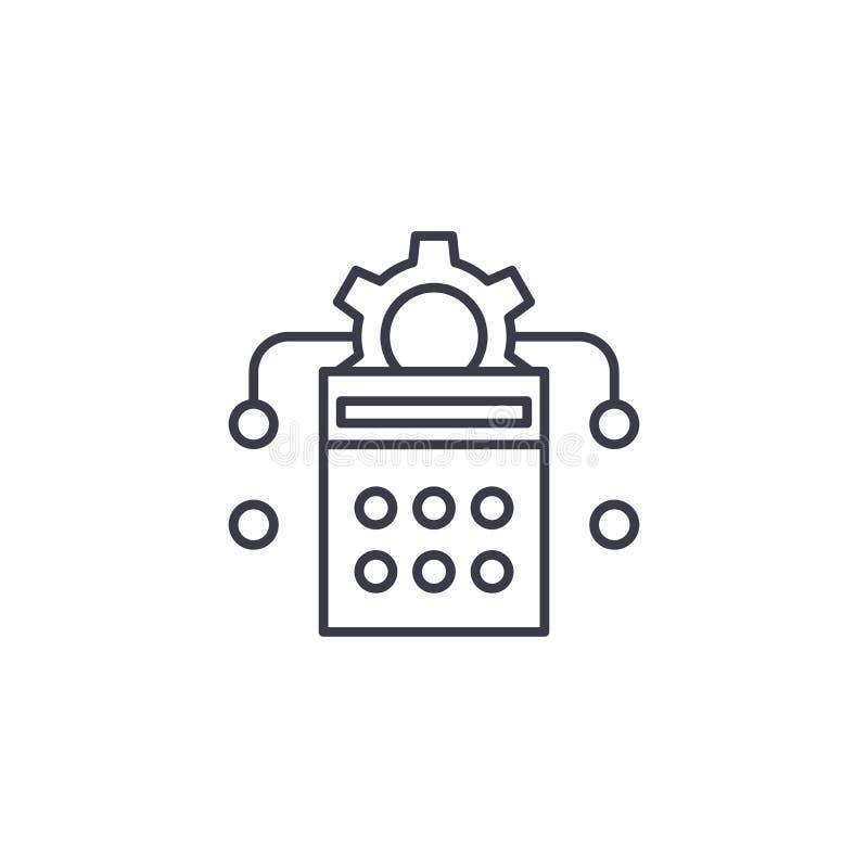 Calcul de concept linéaire d'icône de production Calcul de chaîne de production signe de vecteur, symbole, illustration illustration libre de droits
