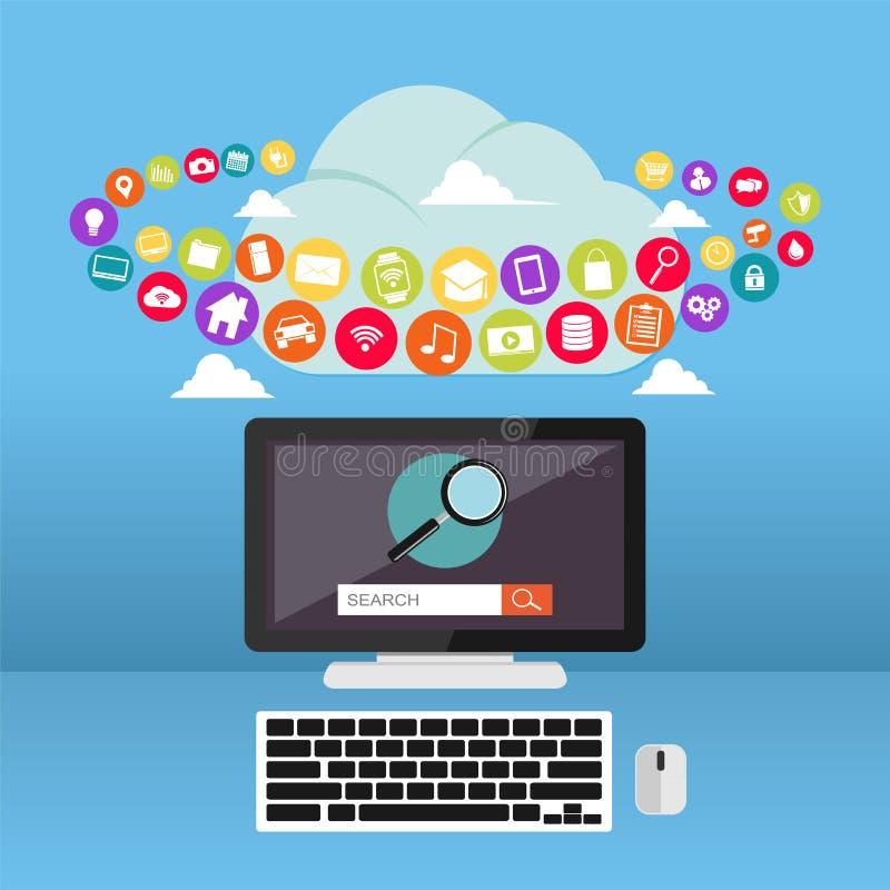 Calcul de nuage Contenu d'Internet Applications Web illustration libre de droits