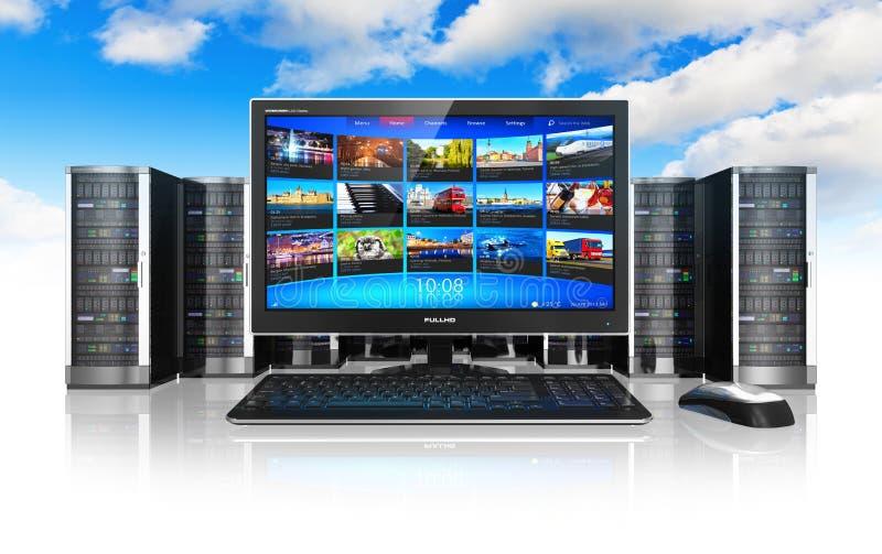 Calcul de nuage et concept de télécommunication illustration libre de droits