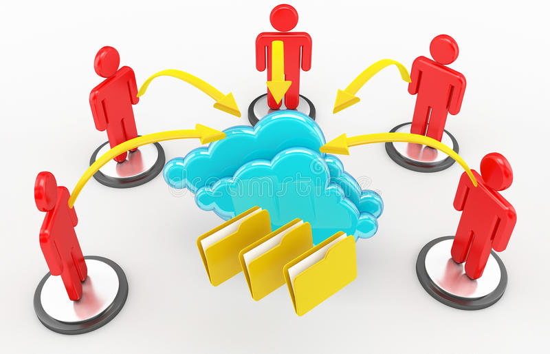 Calcul de nuage et réseau social illustration libre de droits