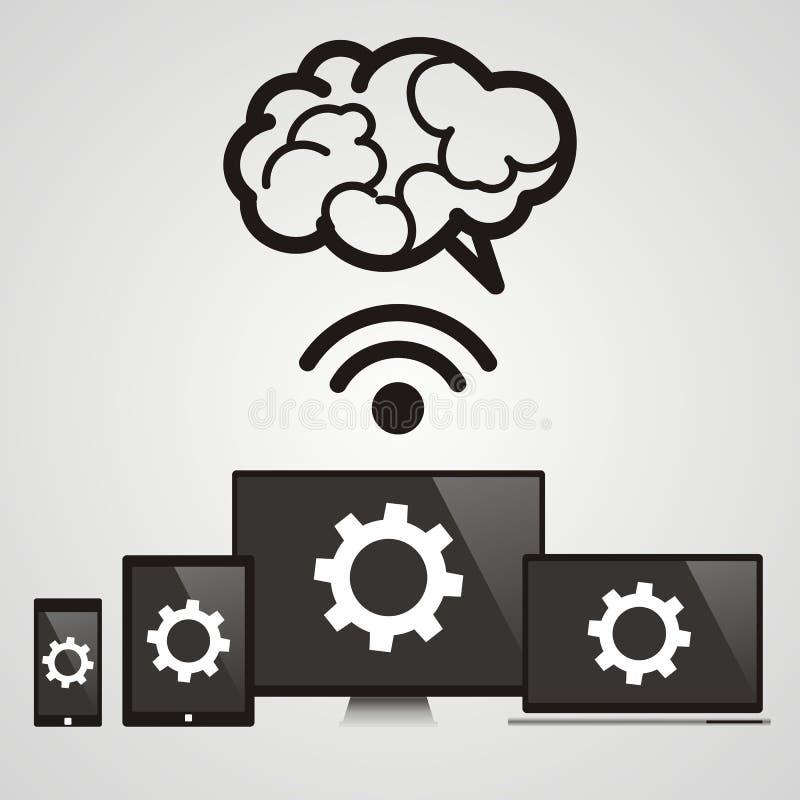 Calcul de nuage - les dispositifs se sont reliés au cerveau illustration libre de droits