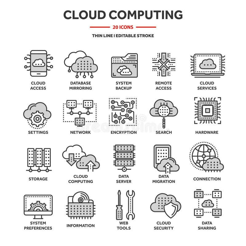 Calcul de nuage Technologie d'Internet Services en ligne Données, protection des données connexion Ligne mince icône bleue de Web illustration stock