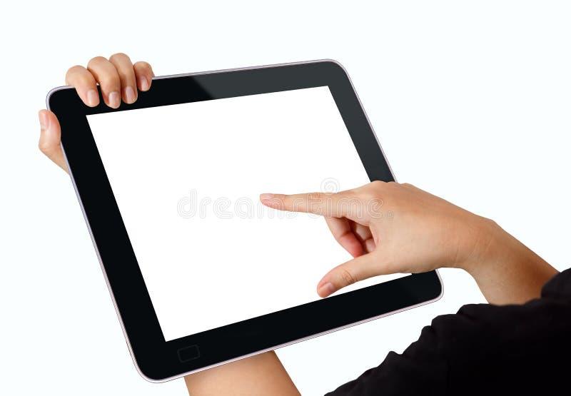 Calcul de tablette tactile photographie stock