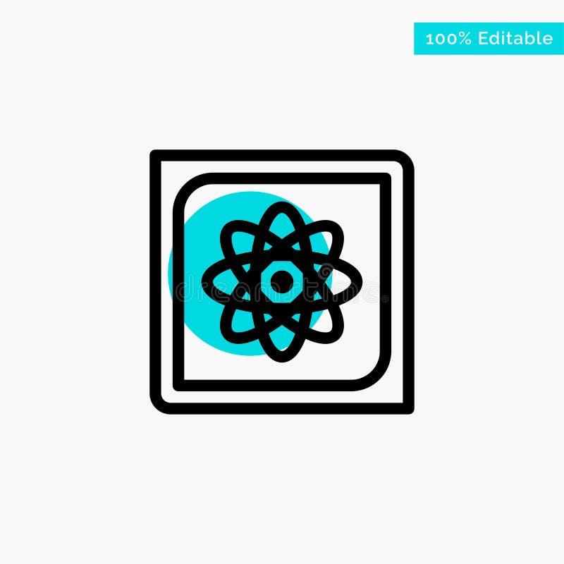 Calcul, ordinateur, calculant, données, future icône de vecteur de point de cercle de point culminant de turquoise illustration libre de droits