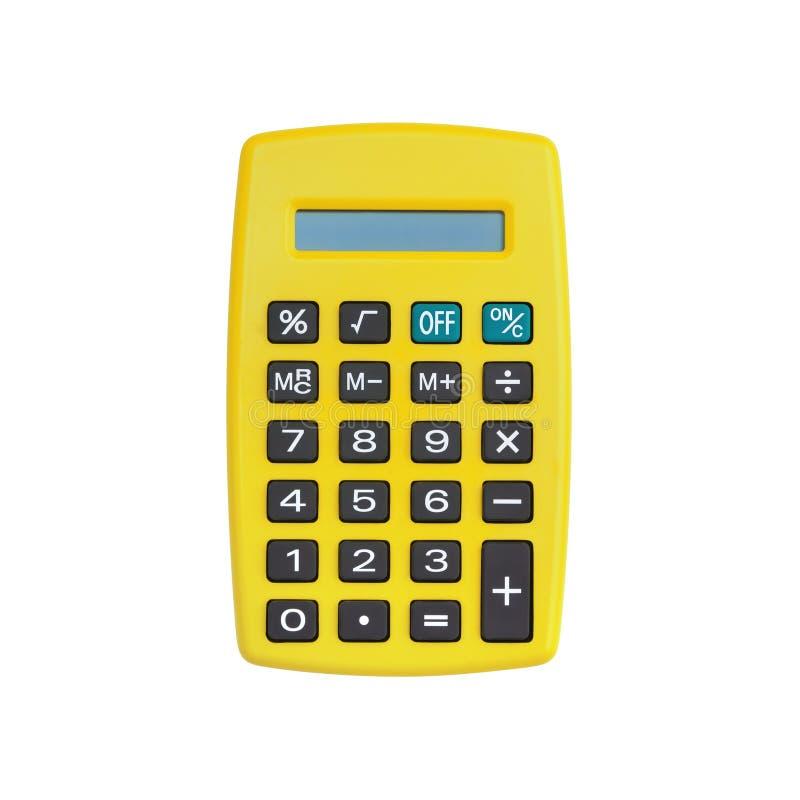 Calculadora amarela isolada no branco imagens de stock royalty free