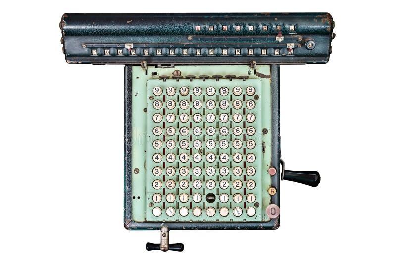 Calculadora antiga do escritório isolada no branco imagens de stock royalty free