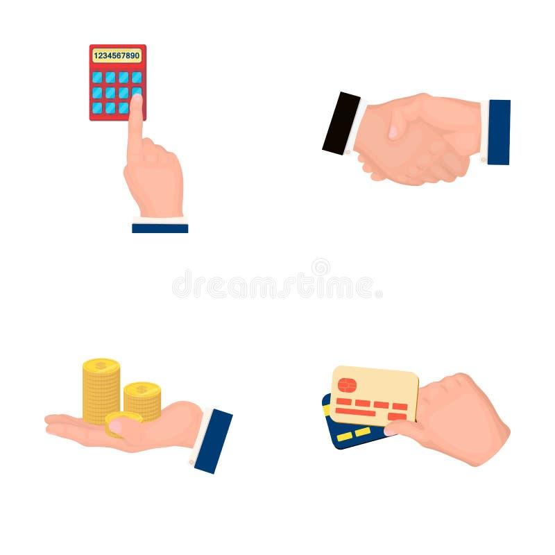 Calculadora, aperto de mão e o outro ícone da Web no estilo dos desenhos animados uma pilha das moedas na palma, ícones dos cartõ ilustração royalty free