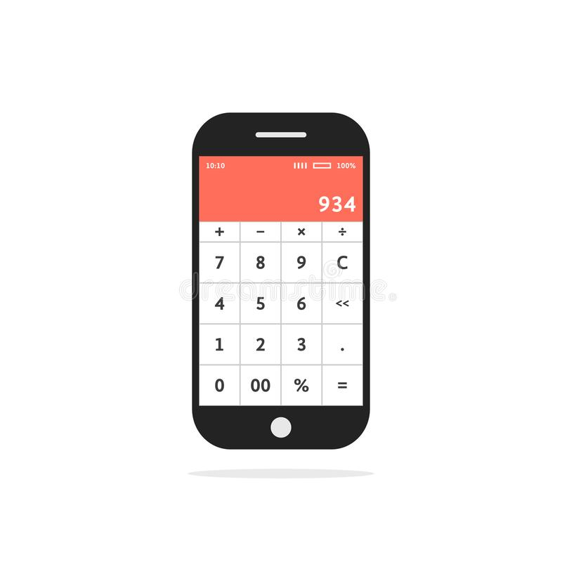 Calculadora app móvel no telefone esperto ilustração do vetor