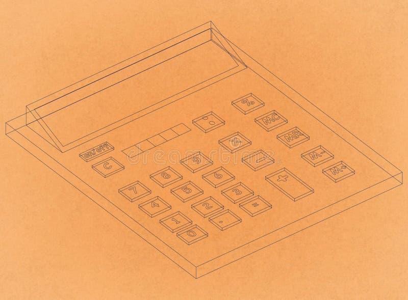 Calculadora - arquitecto retro Blueprint foto de archivo