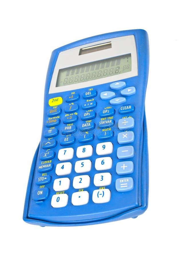 Calculadora azul isolada imagens de stock