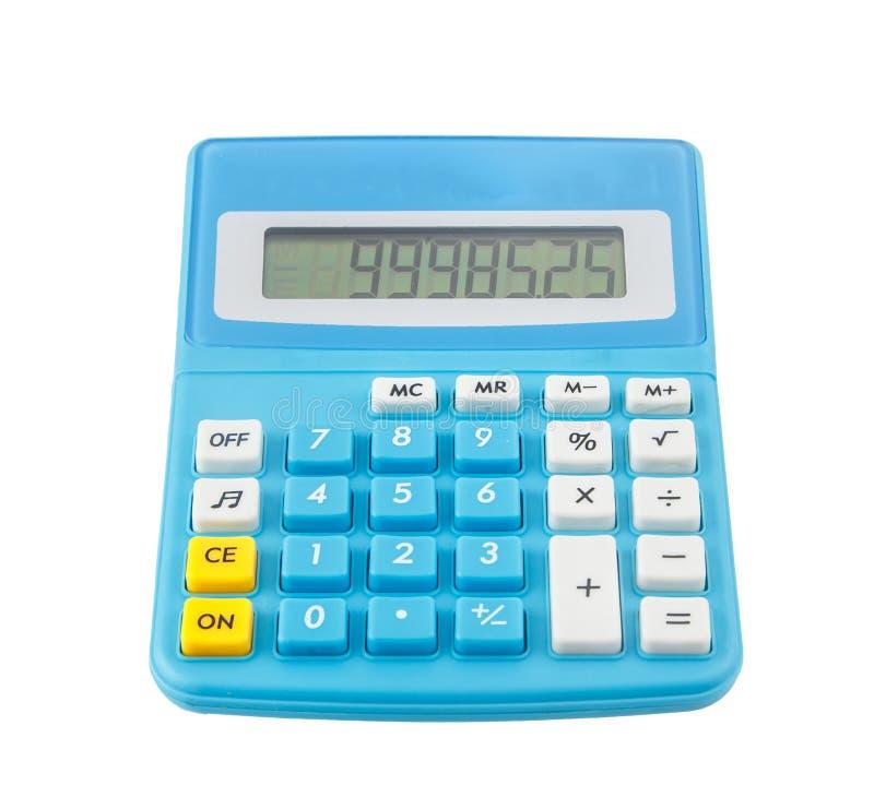 Calculadora azul no branco fotografia de stock