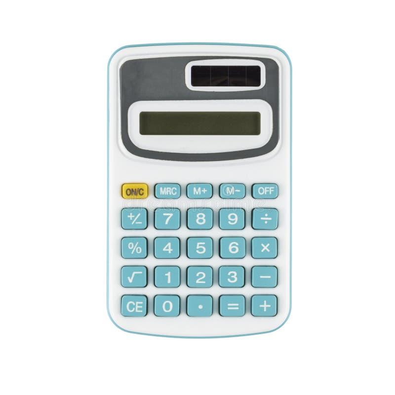 Calculadora azul no fundo branco fotos de stock royalty free