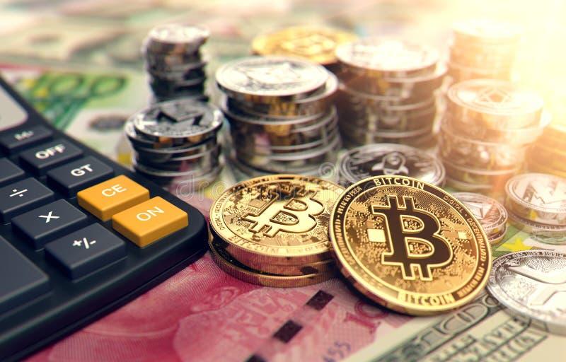Calculadora, Bitcoin y otros cryptocurrencies Altos beneficios en inversiones del cryptocurrency representación 3d ilustración del vector