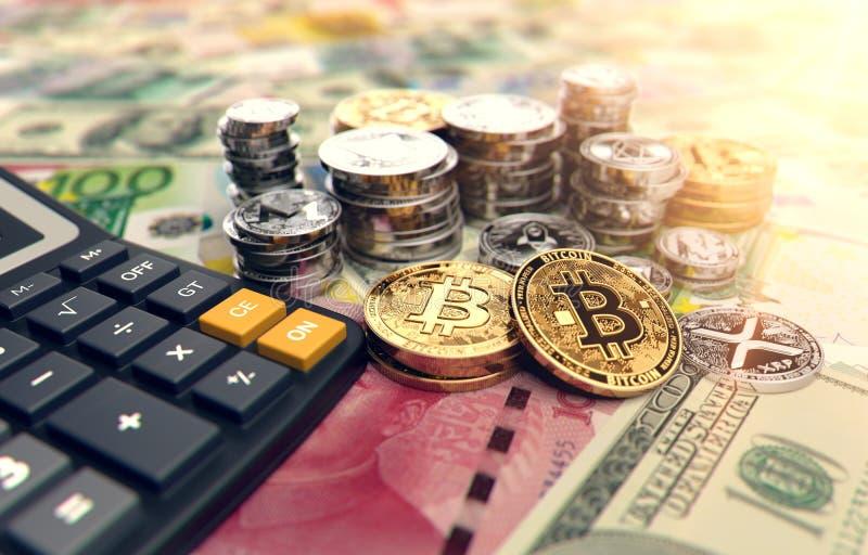 Calculadora, Bitcoin y otros cryptocurrencies Altos beneficios en inversiones del cryptocurrency representación 3d libre illustration