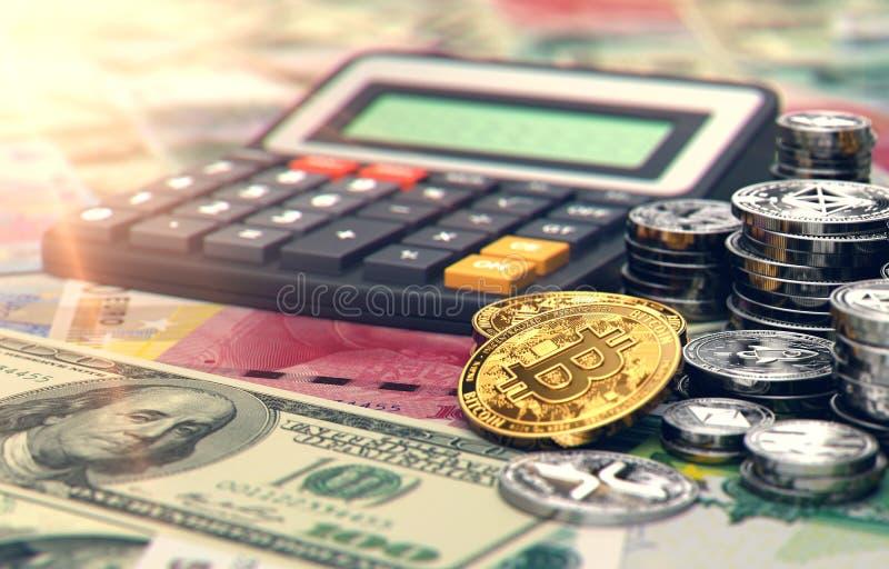 Calculadora, Bitcoin y otros cryptocurrencies Tarifas e impuestos sobre inversiones del cryptocurrency representación 3d libre illustration