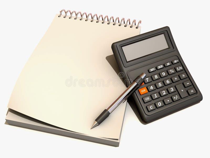 Calculadora, caderno e pena ilustração royalty free